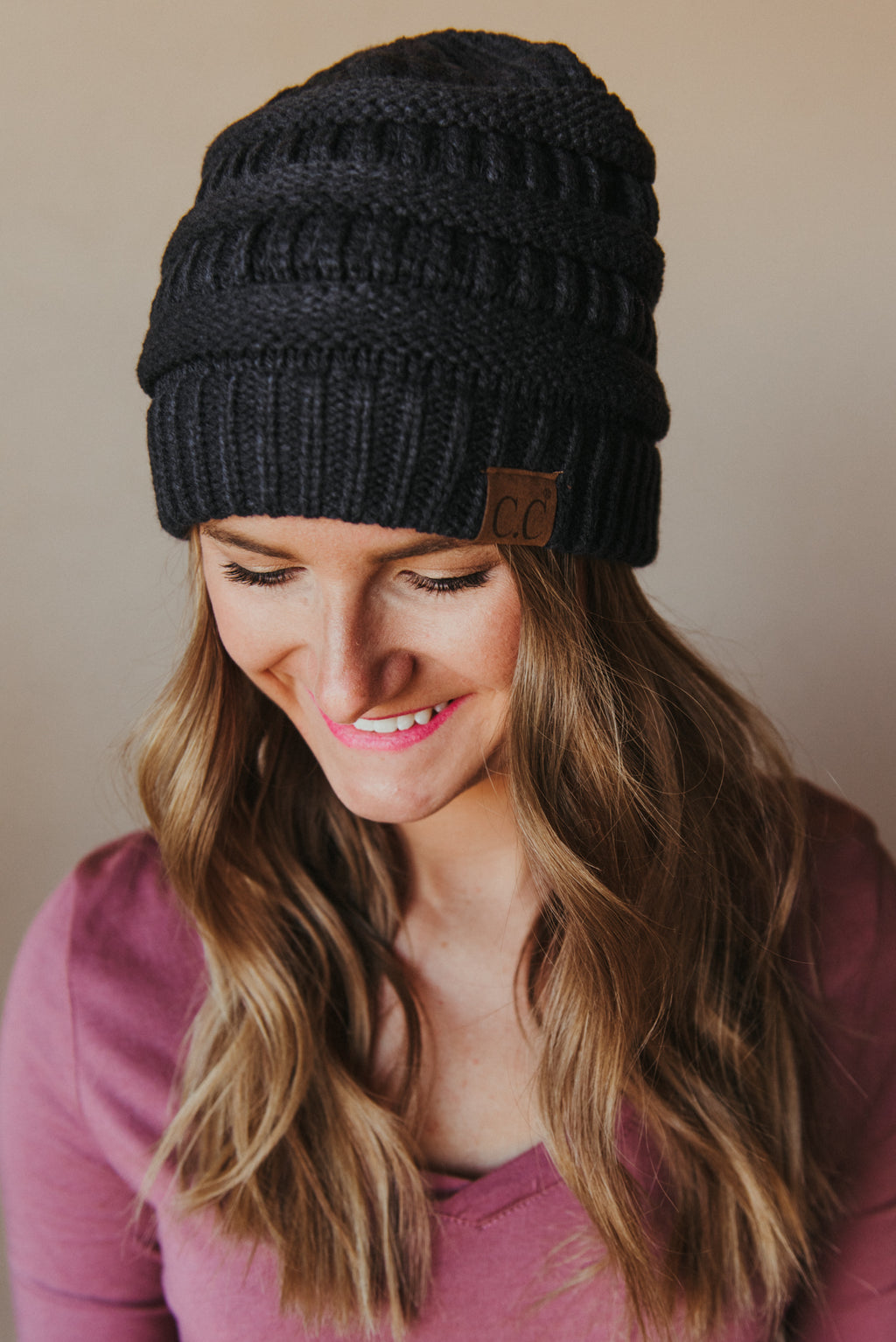 C.C Knitted Beanie ~ Navy - J. Lilly's Boutique