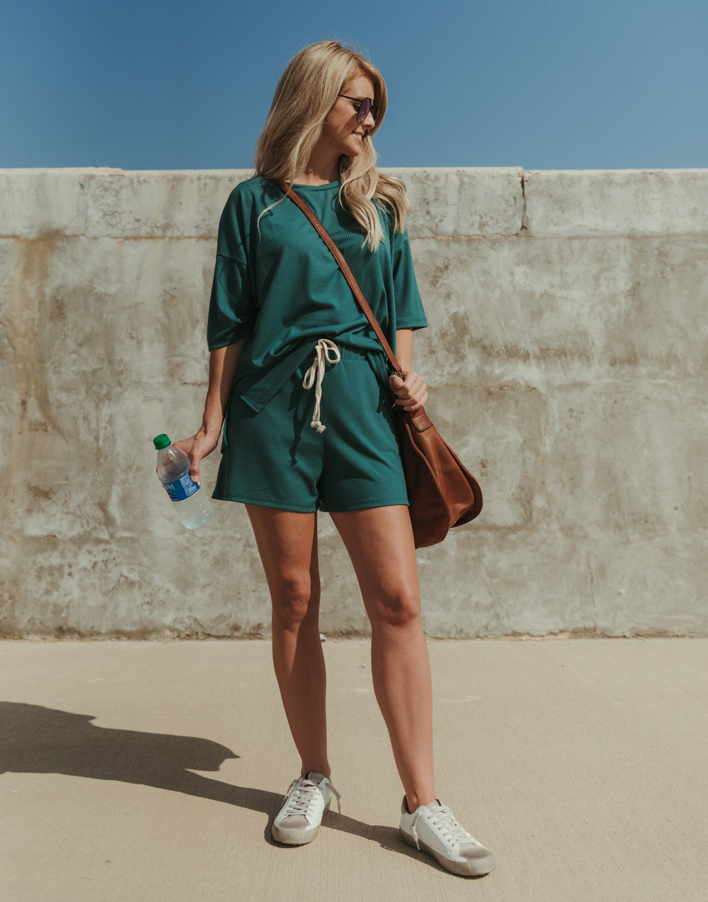 Cozy & Casual Ribbed Shorts~Hunter Green