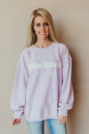 Weekend Corded Sweatshirt ~ Lavender - J. Lilly's Boutique