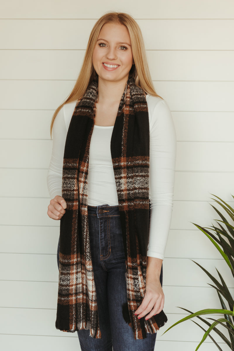 Black Flannel Scarf
