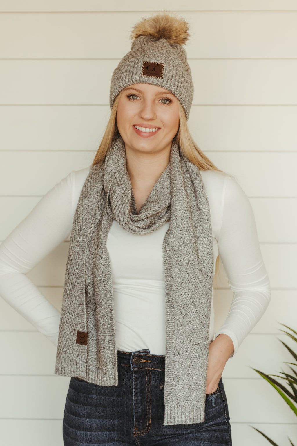 Patterned C.C. Scarves~Light Grey