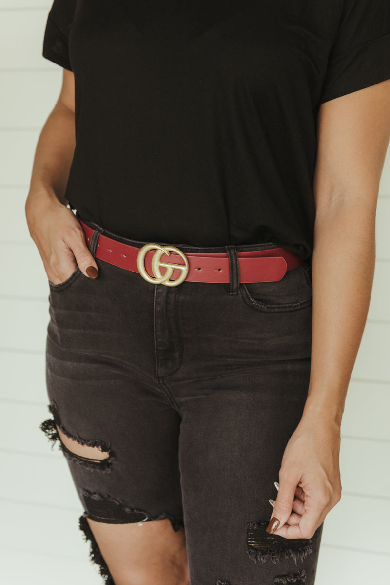 Double Ring Leather Belt~ Wine