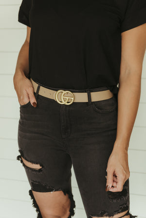 Double Ring Leather Belt~ Taupe
