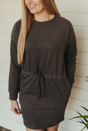 Rainy Day Sweatshirt Dress~Charcoal
