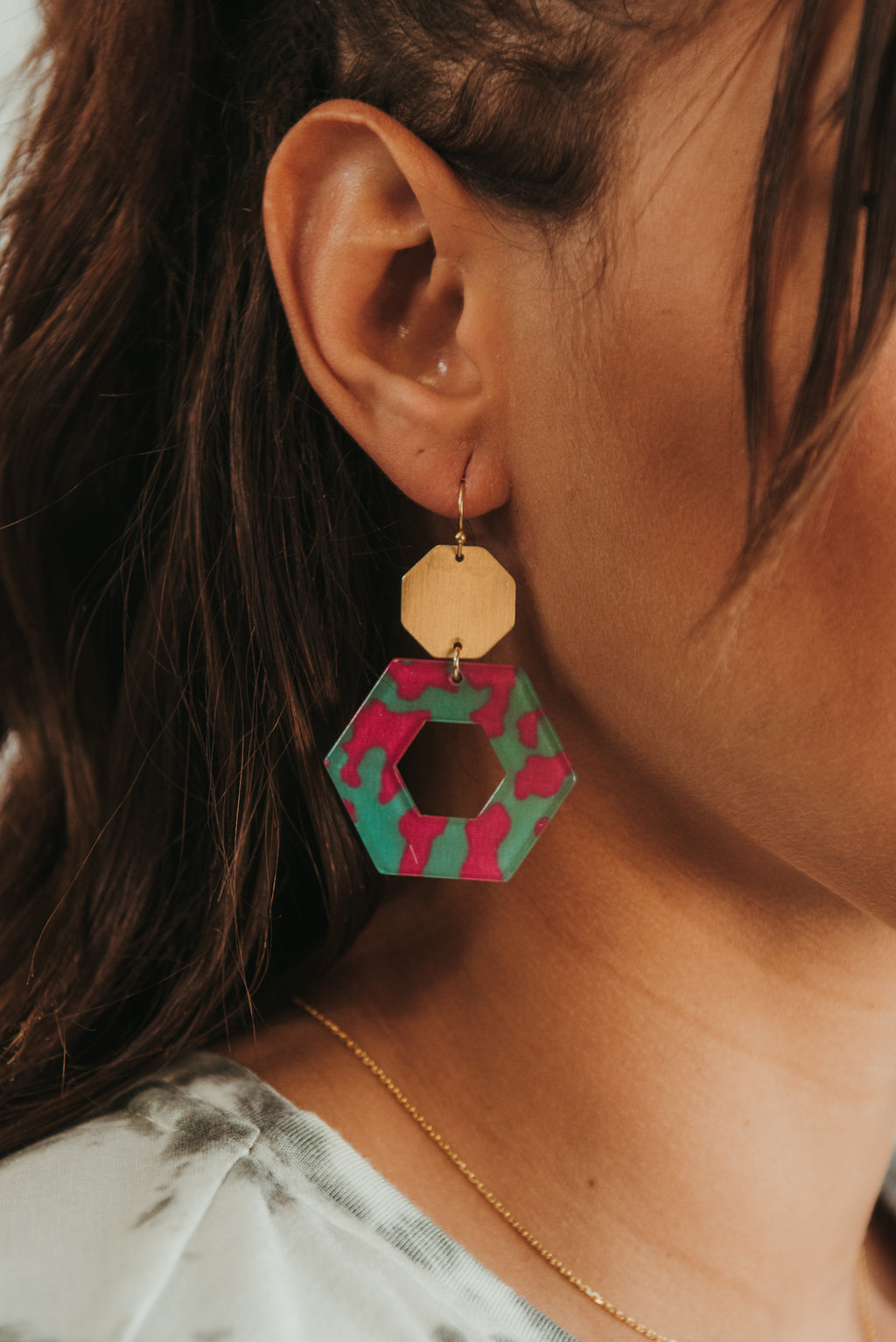 Pink & Teal Acrylic Earrings