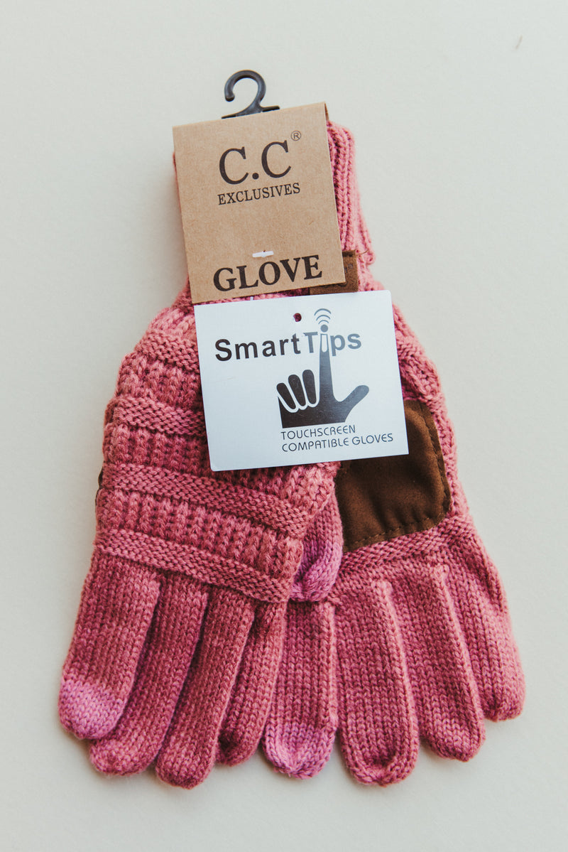 C.C Knitted Smart Tip Glove ~ Mauve - J. Lilly's Boutique