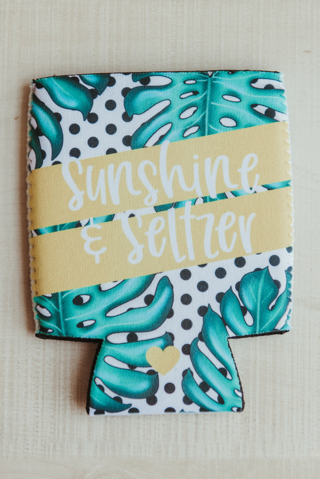Sunshine Koozie ~ Palm Leaf Print
