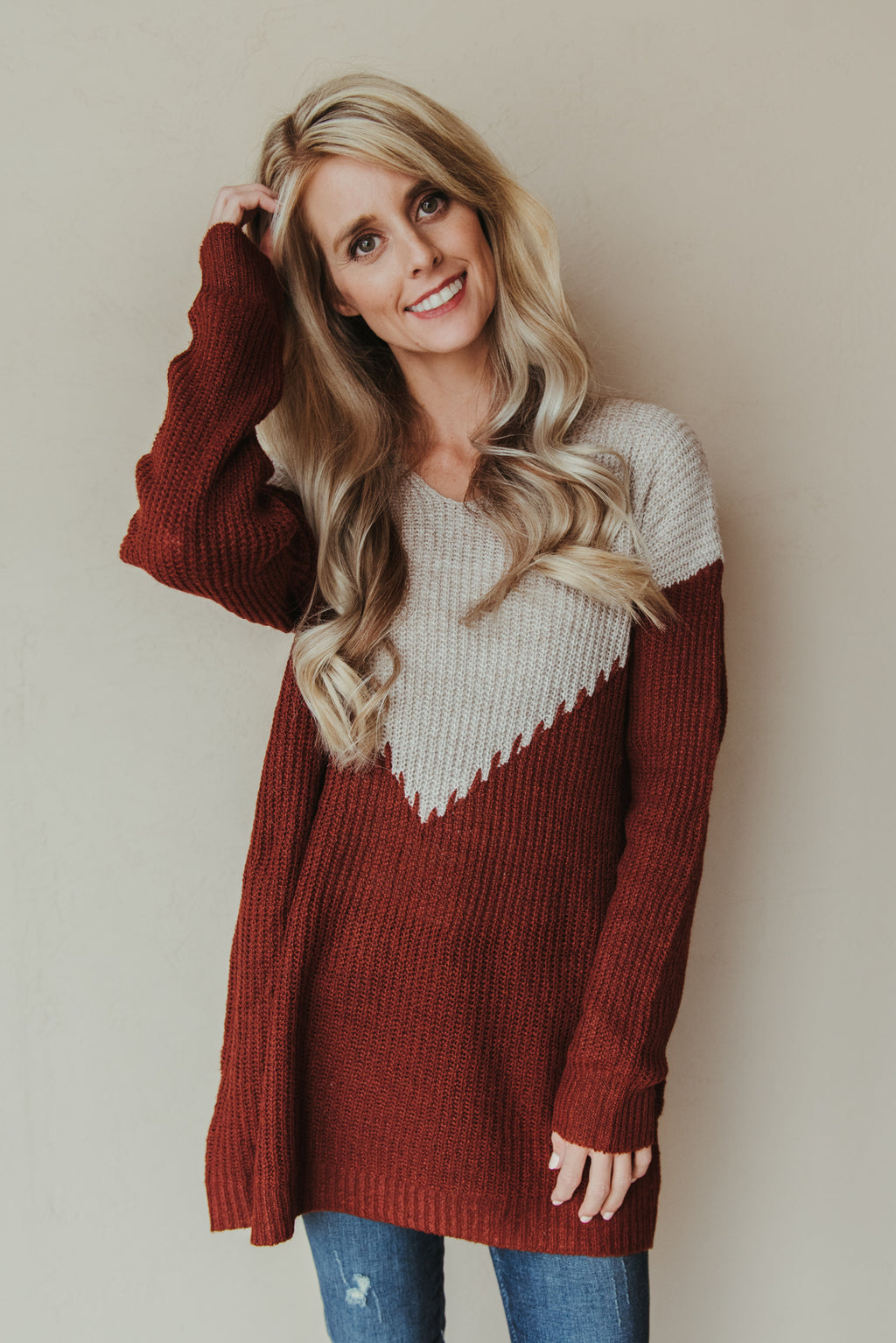 Sweet Memories Stitched Detail Pullover ~ Oatmeal and Copper - J. Lilly's Boutique