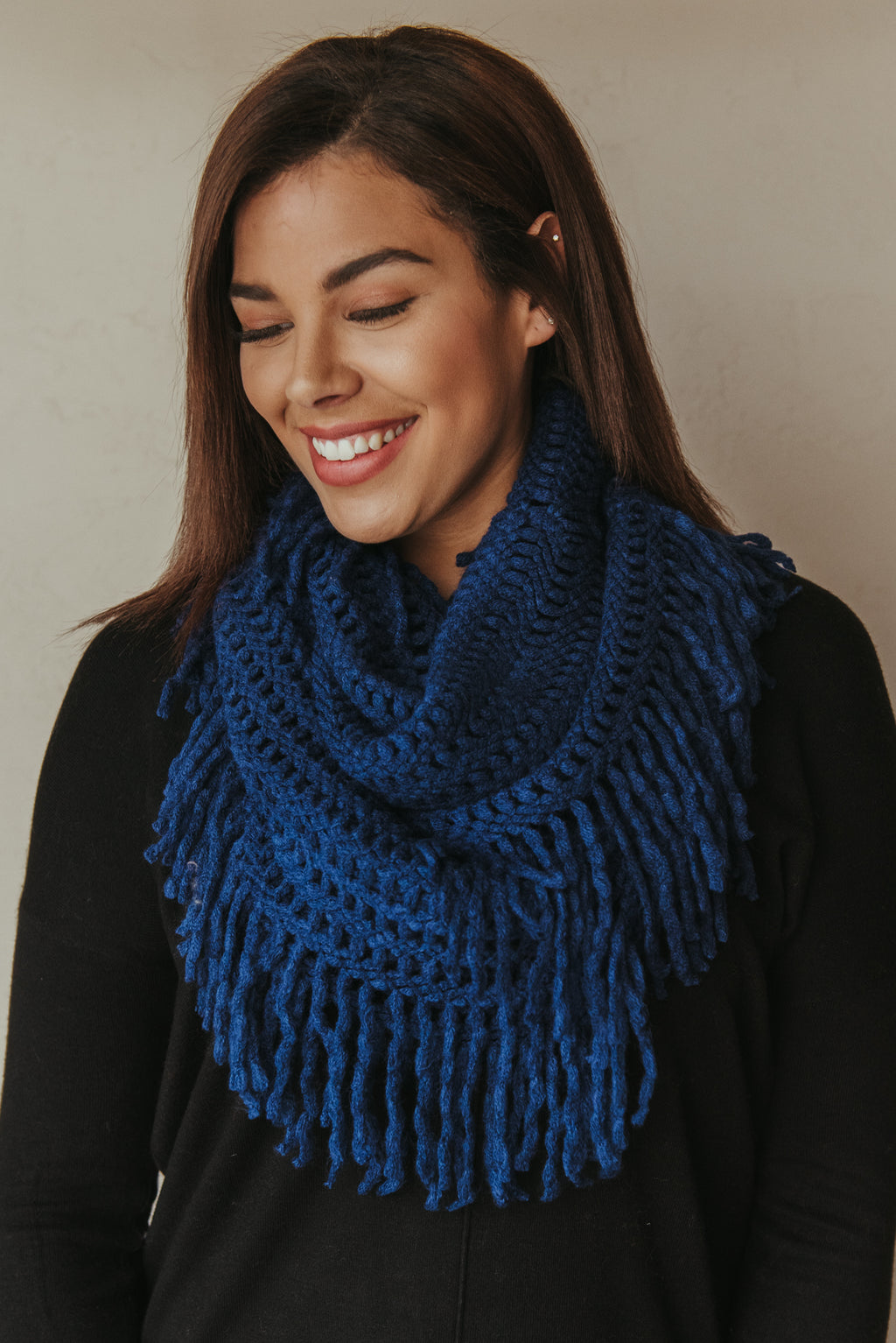 Lattice Tassel Infinity Scarf ~ Navy - J. Lilly's Boutique