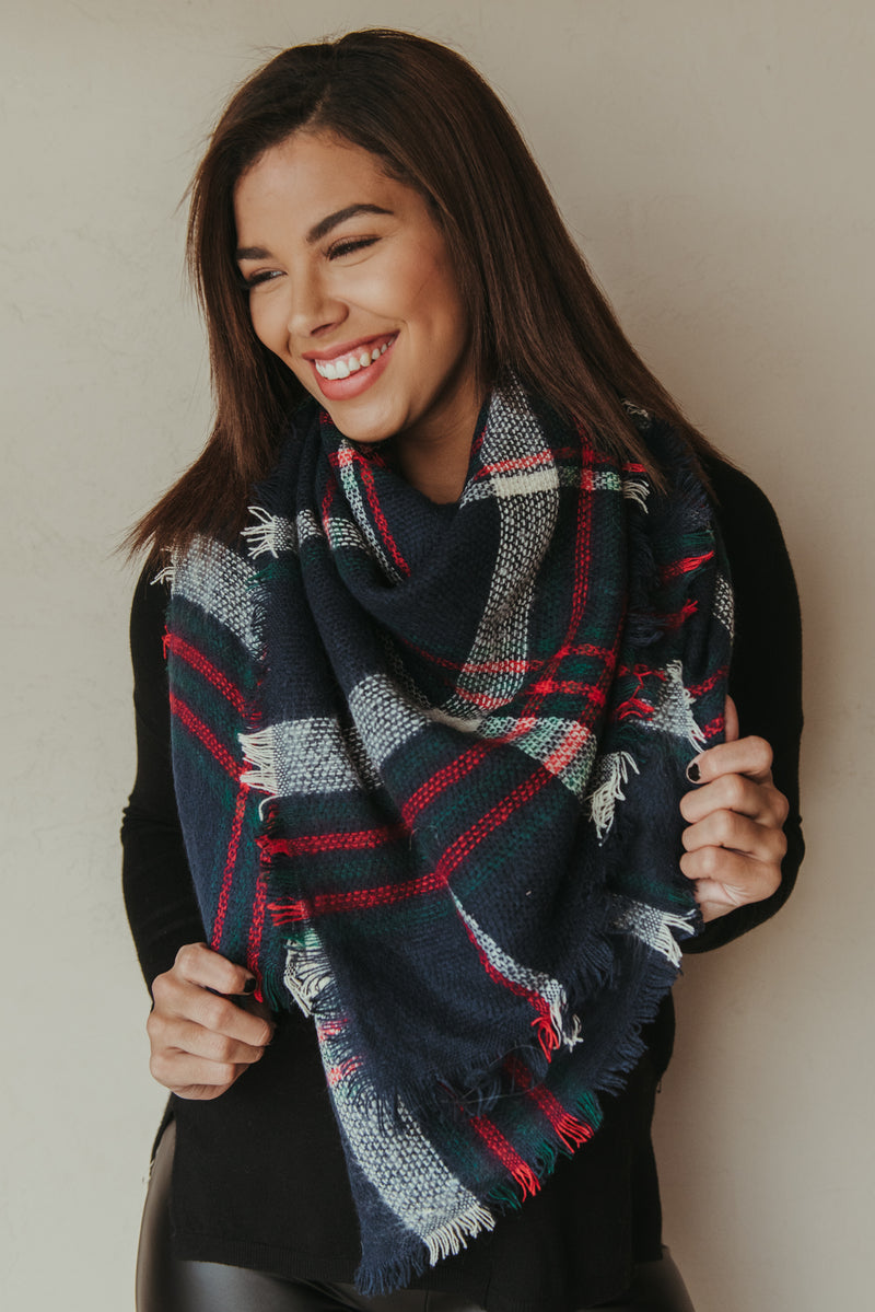 Plaid Blanket Scarf ~ Red & Navy - J. Lilly's Boutique