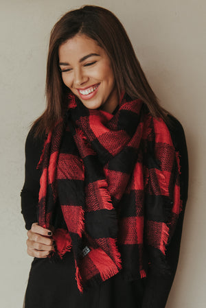 Plaid Blanket Scarf ~ Red - J. Lilly's Boutique