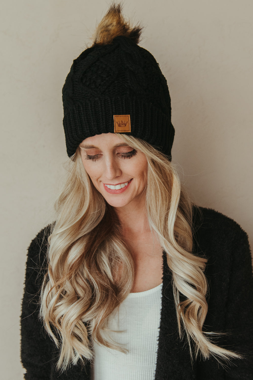 Cable Knit Beanie ~ Black - J. Lilly's Boutique