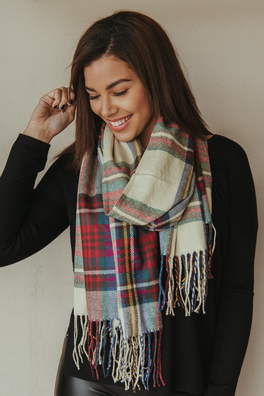 Plaid Blanket Scarf ~ Tan - J. Lilly's Boutique