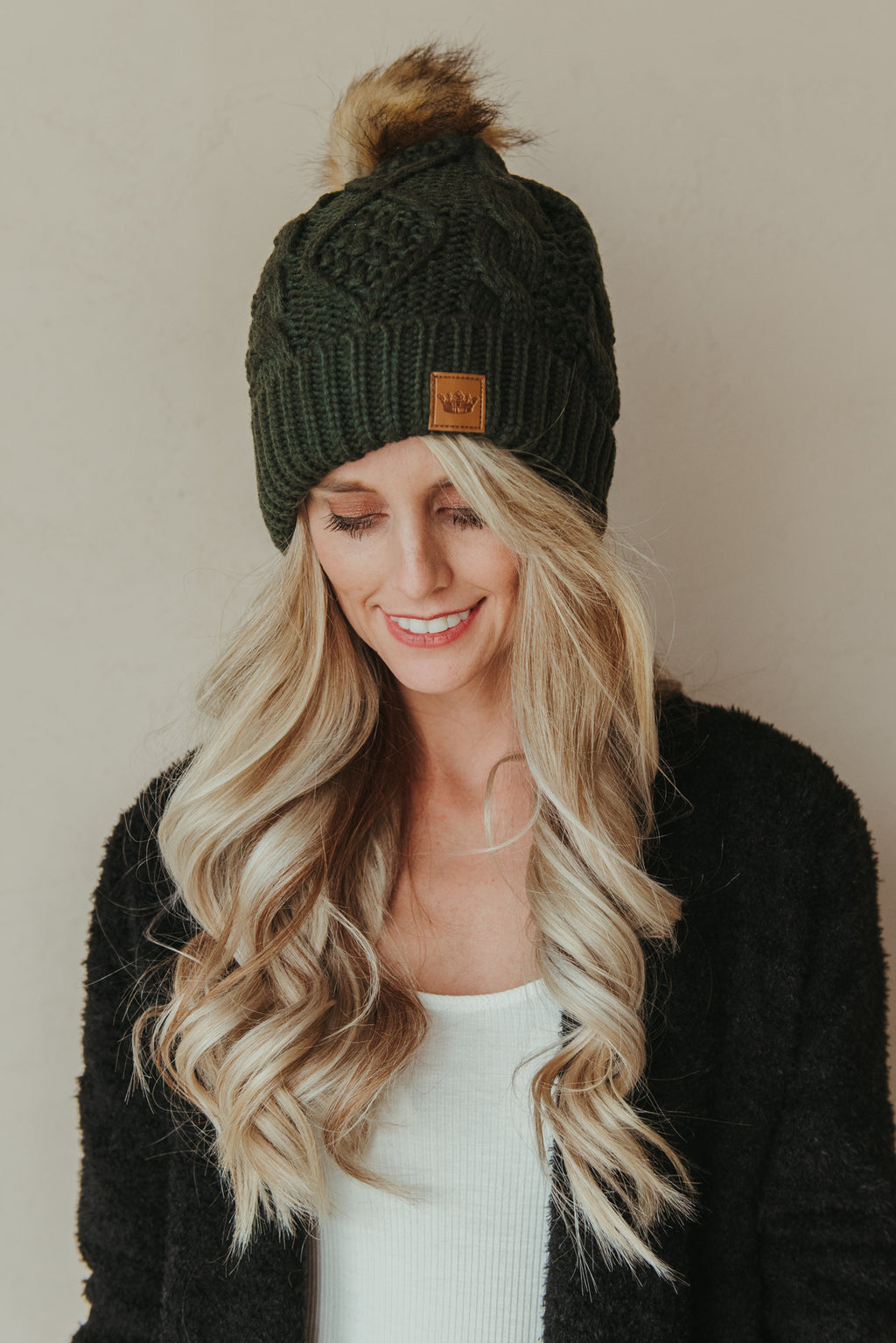 Cable Knit Beanie ~ Olive - J. Lilly's Boutique