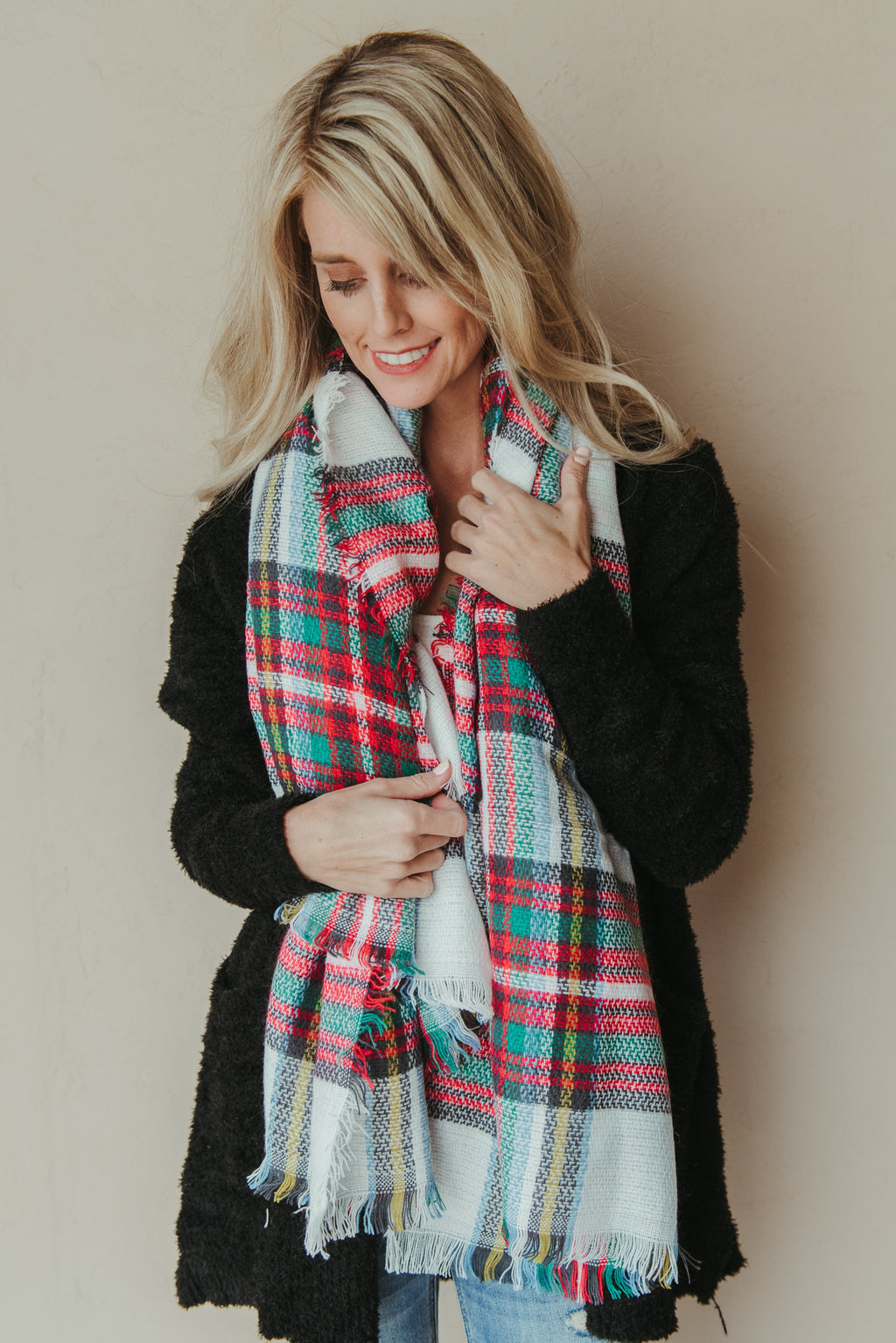 Plaid Blanket Scarf ~ Red & White - J. Lilly's Boutique