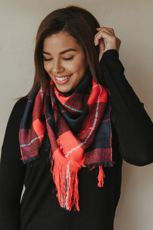 Plaid Blanket Scarf ~ Navy - J. Lilly's Boutique