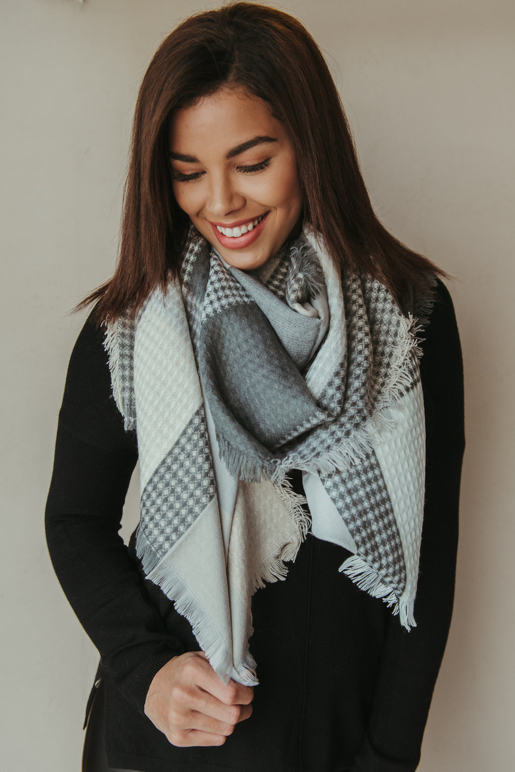 Plaid Waffle Blanket Scarf ~ Gray & Blush - J. Lilly's Boutique
