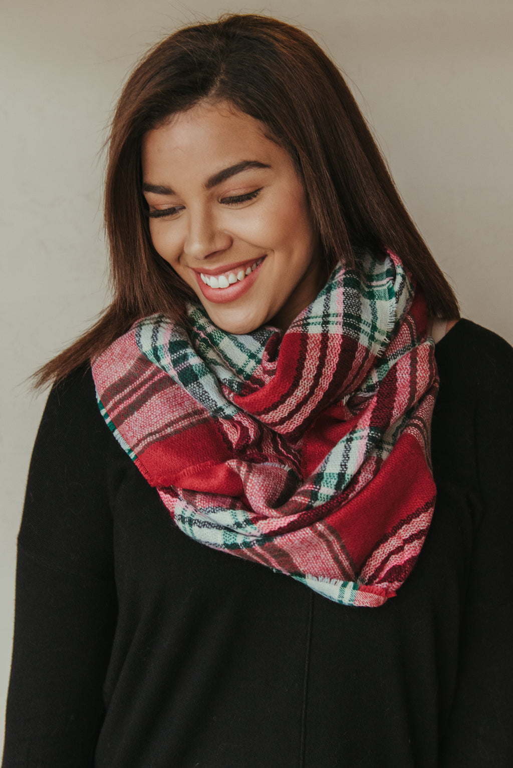 Classic Plaid Blanket Scarf ~ Red & Green - J. Lilly's Boutique