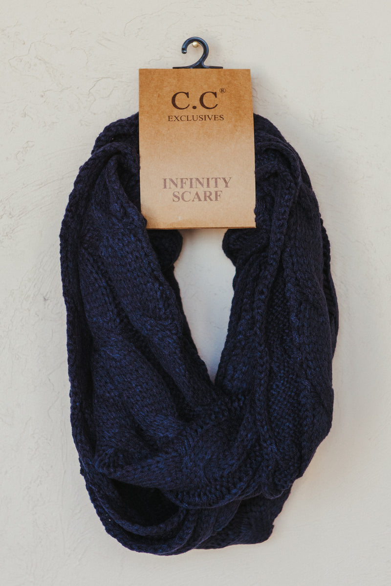 C.C Knitted Scarf ~ Navy - J. Lilly's Boutique