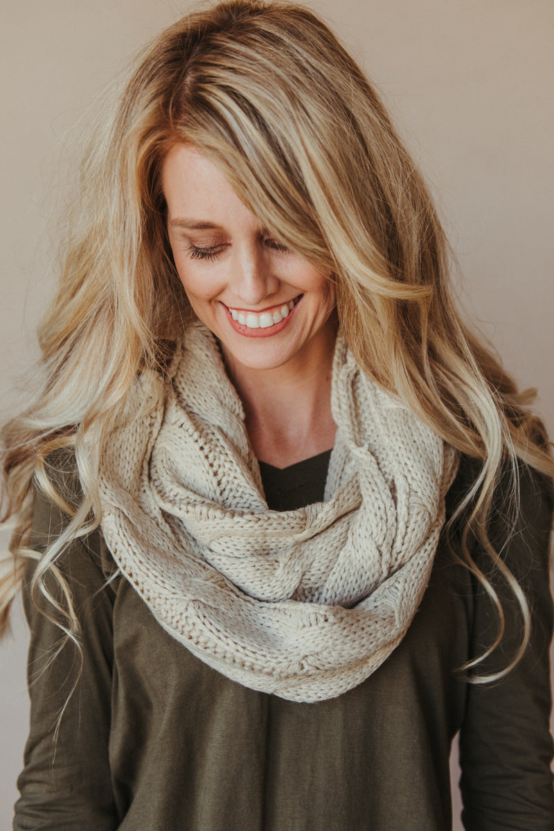 C.C Knitted Scarf ~ Beige - J. Lilly's Boutique