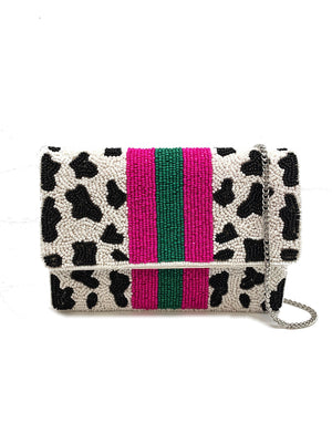 Small White Leopard Beaded Clutch with Hot Pink Stripe