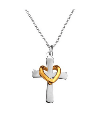 Gold Heart & Cross Necklace