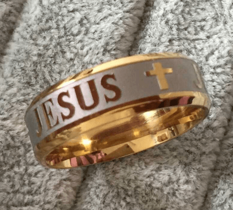Gold & Silver Jesus Cross Ring