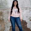 Morgan Bomber Jacket (Plus Size) - Baby Pink or Baby Beige Photo - Plush Boutique