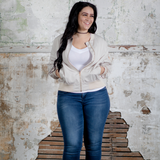 Morgan Bomber Jacket (Plus Size) - Baby Pink or Baby Beige