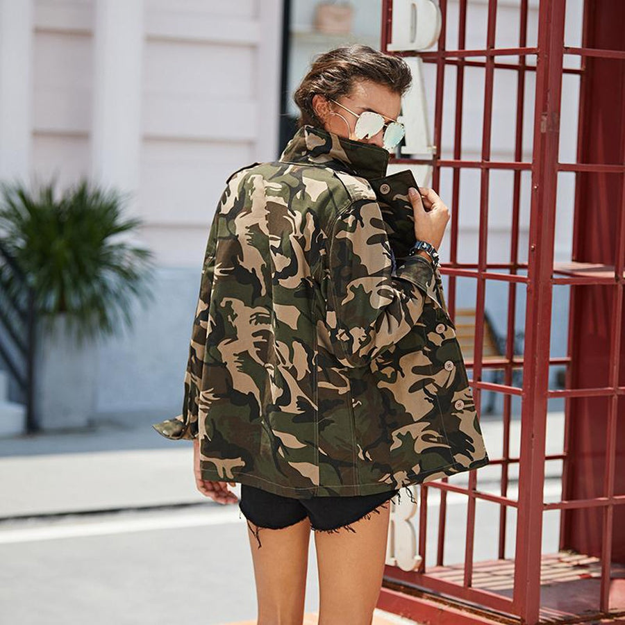 Lightweight Camo Patch Button Down Jacket Photo - Plush Boutique