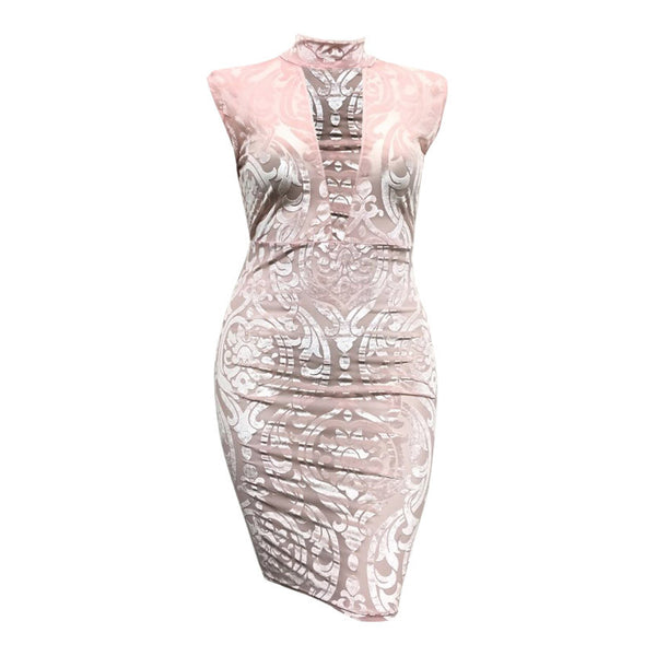 Isabella Velvet Crush Dress in Blush