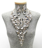 Statement Crystal Bib Necklace Set Photo - Plush Boutique