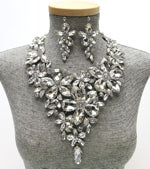 Statement Marquis Floral Bib Necklace Set Photo - Plush Boutique