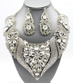 Statement Crystal Wave Bib Necklace Set Photo - Plush Boutique