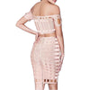 Duchess Two Piece Bandage Dress Set Plush Boutique - Blush