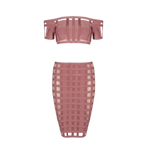 Duchess Two Piece Bandage Dress Set Plush Boutique - Nude
