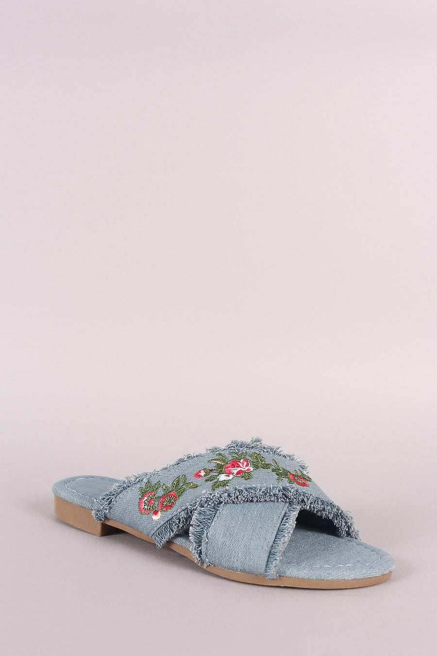 Arlo Frayed Denim Floral Embroidered Crisscross Slide Sandal Photo - Plush Boutique