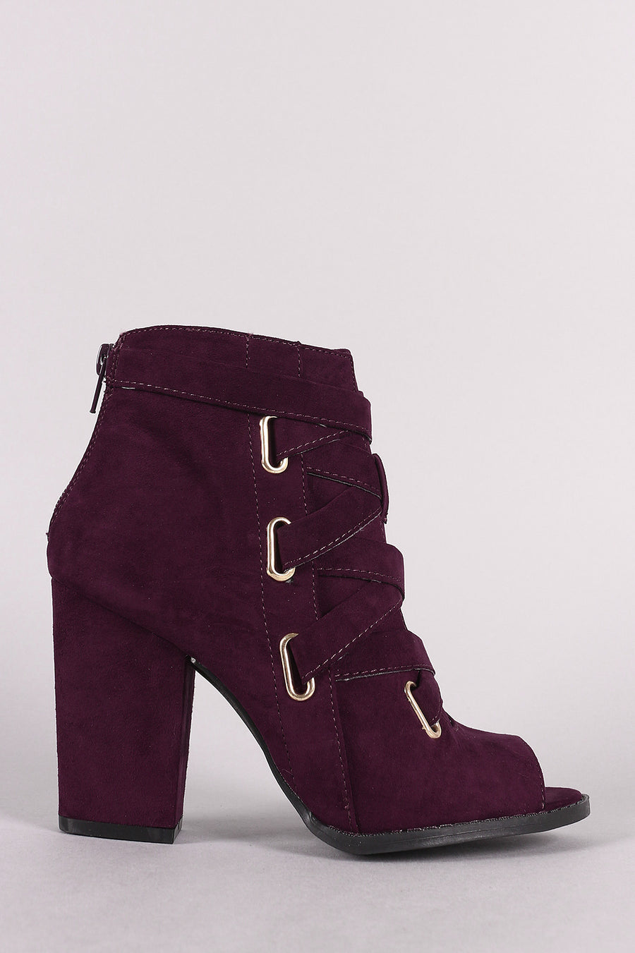 Clara Suede Peep Toe Corset Lace Up Chunky Heeled Booties Photo - Plush Boutique