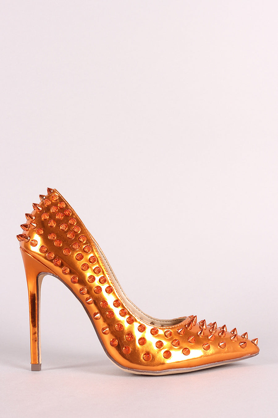 Tessa Spike Studs Patent Pointy Toe Stiletto Pump Photo - Plush Boutique
