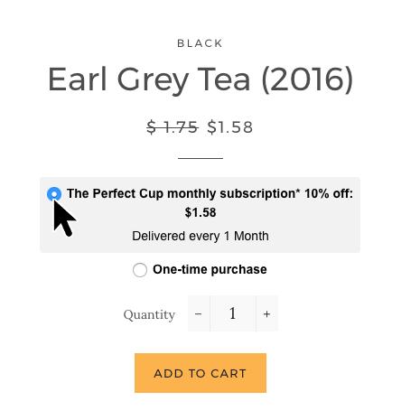 Select subscribe option from product page to add a subscription item to your cart