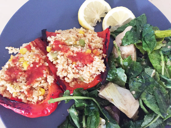 green chef vegan recipe bulgur-stuffed pepper