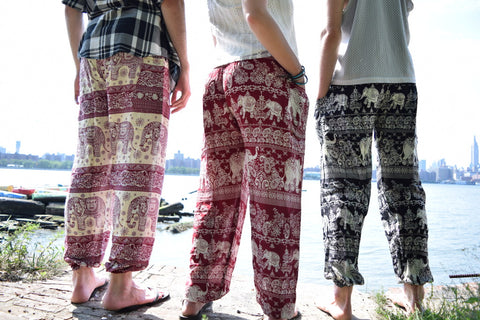 The Elephant Pants are a beautiful, color pants and part of the proceeds go towards helping elephants survive