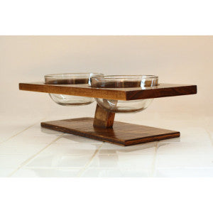 modern glass cat or dog bowls with a beautiful wooden stand