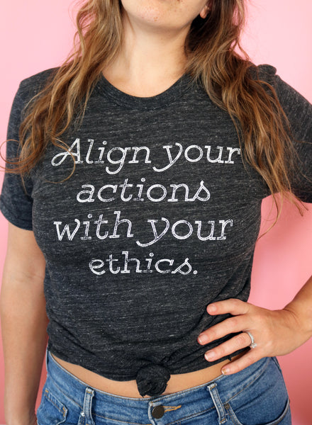 vegan align your actions tshirt threads for love