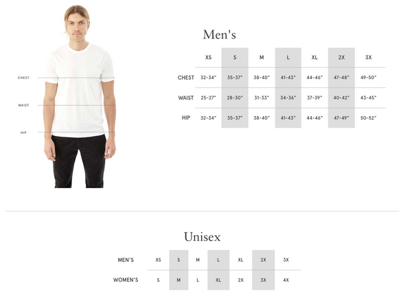 sentient vegan eco-friendly shirt size chart