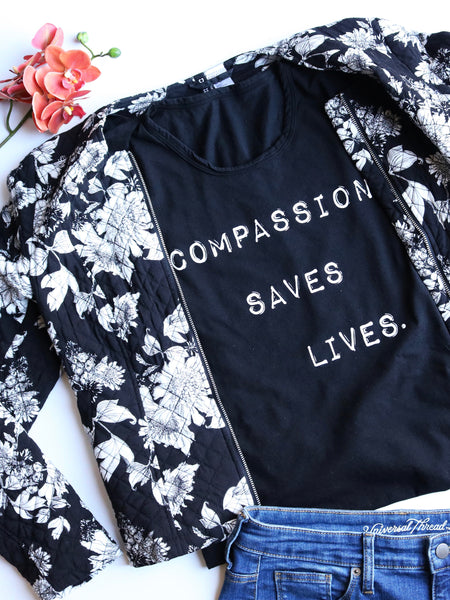 Compassion saves lives tank organic cotton