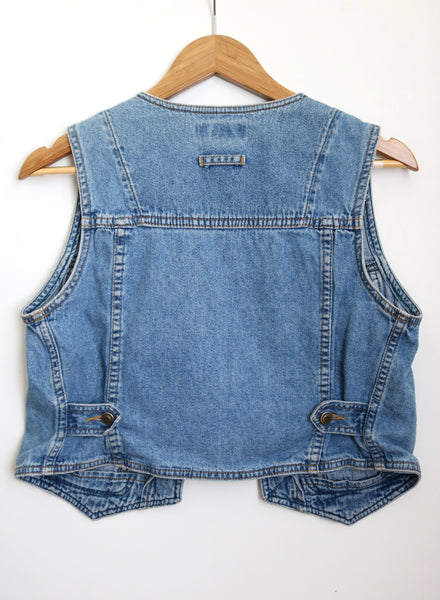 upcycled vegan denim vest threads for love