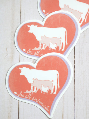for all animals vegan sticker threads for love