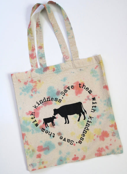 tie dye vegan tote bag recycled cotton