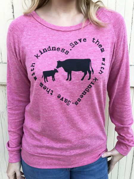 save them with kindness vegan heathered berry pullover